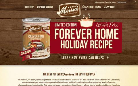 Screenshot of Home Page merrickpetcare.com - Merrick Pet Care | Premium Dog & Cat Food - captured Sept. 8, 2015