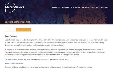 Screenshot of Jobs Page macrogenics.com - Careers - captured Nov. 17, 2016