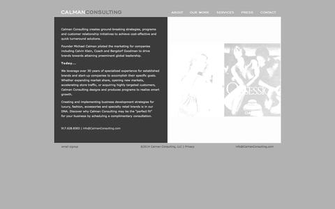 Screenshot of Home Page calmanconsulting.com - Marketing and Retail Consultants, NYC   Calman Consulting - captured Oct. 1, 2014