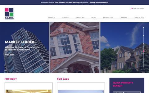 Screenshot of Home Page amana-properties.com - Amana Properties | Dammam, Saudi Arabia - Realestate For Sale, Rent, or Lease - captured Oct. 3, 2018