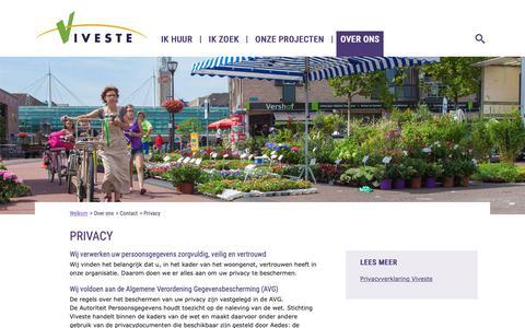 Screenshot of Privacy Page viveste.nl - Privacy - Viveste - captured Oct. 20, 2018