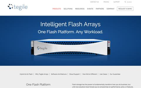 Screenshot of Products Page tegile.com - Hybrid and All Flash Storage Array | Tegile - captured Oct. 1, 2015
