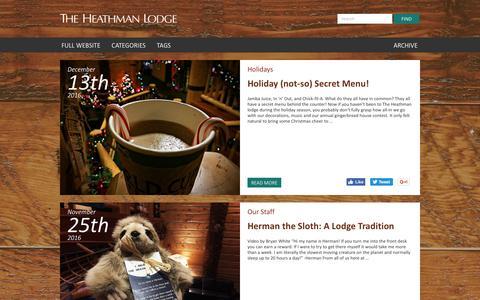Screenshot of Blog heathmanlodge.com - The Heathman Lodge   Heathman lodge Blog - captured Dec. 16, 2016