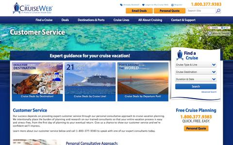 Screenshot of Support Page cruiseweb.com - Customer Service | The Cruise Web - captured Feb. 10, 2016