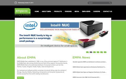Screenshot of Home Page empa-me.com - EMPA - captured Oct. 1, 2014