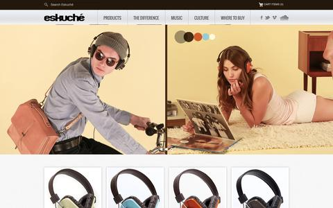Screenshot of Home Page Blog About Page Privacy Page Contact Page Products Page eskucheaudio.com - Eskuche Headphones | Classic Design Modern Sound - captured Oct. 2, 2014