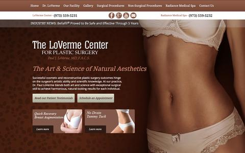 Screenshot of Home Page lovermecenter.com - Plastic Surgery in New Jersey NJ Paul J LoVerme MD - captured Jan. 30, 2016