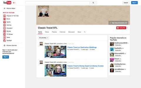 Screenshot of YouTube Page youtube.com - Classic Travel STL  - YouTube - captured Oct. 22, 2014