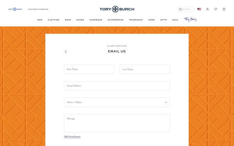 Screenshot of Contact Page toryburch.com - Email Us - captured Sept. 19, 2018