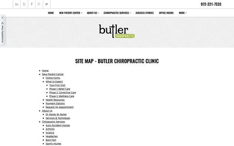 Screenshot of Site Map Page butlerchiropractic.com - Site map - Butler Chiropractic Clinic - captured Oct. 7, 2018