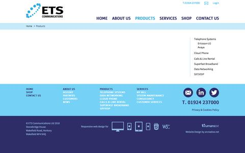 Screenshot of Products Page etscommunications.co.uk captured Sept. 26, 2018