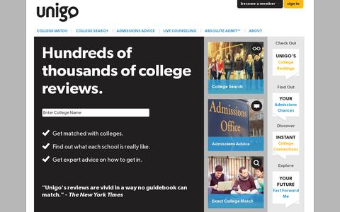 Screenshot of Home Page unigo.com - College Ratings & Reviews by Actual Students | Unigo - captured July 11, 2014