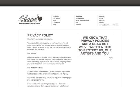 Screenshot of Privacy Page columnartsagency.co.uk - Privacy Policy - Column Arts Agency - Illustration Agency - Column Arts Agency – Illustration Agency - captured Sept. 30, 2014