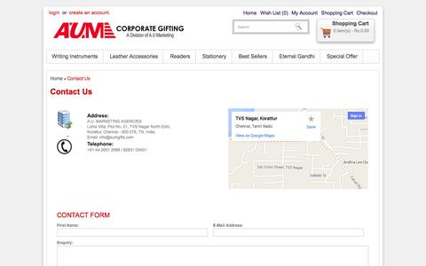 Screenshot of Contact Page aumgifts.com - Contact Us - captured Oct. 4, 2014