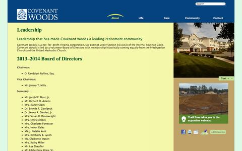 Screenshot of Team Page covenantwoods.com - A Leading Not-For-Profit Retirement Community in Richmond, VA | Covenant Woods - captured Sept. 30, 2014