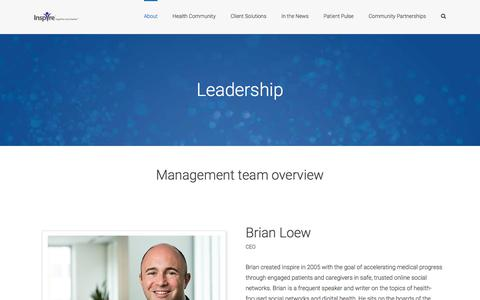 Screenshot of Team Page inspire.com - Leadership | Meet the leaders behind Inspire's success over the years - captured Jan. 1, 2020