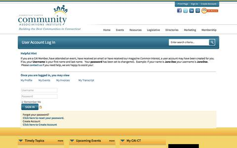 Screenshot of Login Page caict.org - Community Associations Institute - Connecticut Chapter - captured July 15, 2018