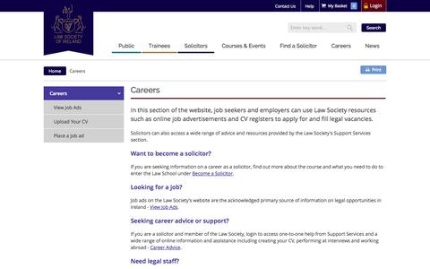 Screenshot of Jobs Page lawsociety.ie - Careers - captured Sept. 23, 2014
