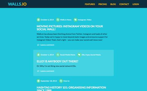 Screenshot of Blog walls.io - Your Hashtags Unleashed | The Walls.io Product Blog - captured Nov. 2, 2014
