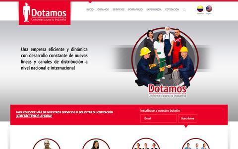 Screenshot of Home Page dotamos.com.co - Dotación de uniformes en Medellín Dotamos S.A.S - Colombia - captured Oct. 5, 2014