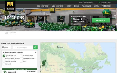 Screenshot of Contact Page Locations Page papemachinery.com - Dealership Locations | Papé Machinery Agriculture & Turf - captured Oct. 10, 2018