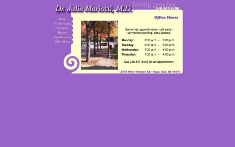 Screenshot of Hours Page drjm.net - Dr. Julie Mariotti, M.D. Family Practice - captured Oct. 31, 2018