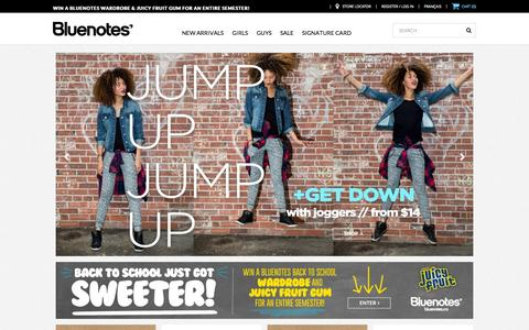 Screenshot of Home Page blnts.com - Bluenotes - Shop fashion, shoes & accessories for Girls & Guys - captured Sept. 19, 2014