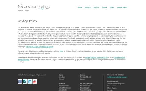 Screenshot of Privacy Page neuromarketing-labs.com - Privacy Policy - Neuromarketing Labs - captured Dec. 22, 2016