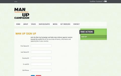 Screenshot of Signup Page manupcampaign.org - Sign Up - captured Sept. 30, 2014
