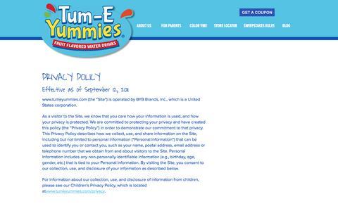 Screenshot of Privacy Page tumeyummies.com - Parent Site Privacy Notice - Tum-E Yummies Tum-E Yummies - captured Jan. 4, 2017