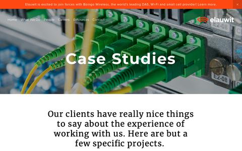 Screenshot of Case Studies Page elauwit.com - Case Studies — Elauwit Networks - captured Feb. 27, 2019