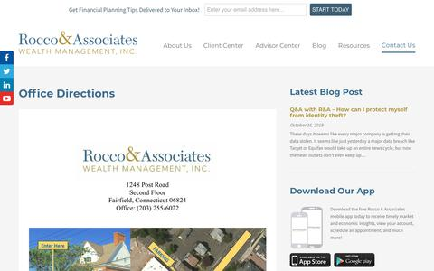 Screenshot of Maps & Directions Page roccoandassociates.com - Office Directions | Rocco & Associates Wealth Management, Inc. - captured Oct. 18, 2018