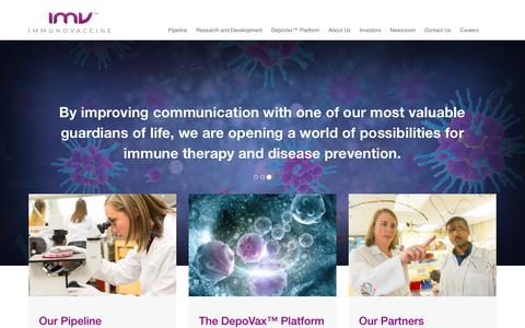 Screenshot of Home Page imvaccine.com - Immunovaccine - Leveraging the Power of the Immune System | Oncology and Infectious Diseases - captured Oct. 14, 2017