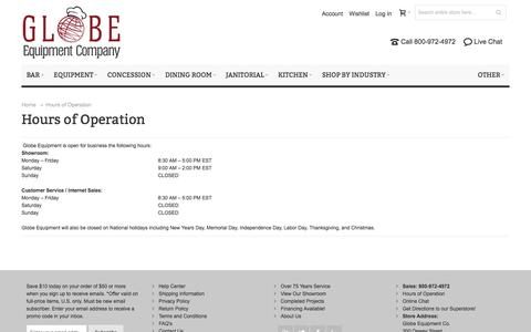 Screenshot of Hours Page globeequipment.com - Hours of Operation - captured Jan. 14, 2016