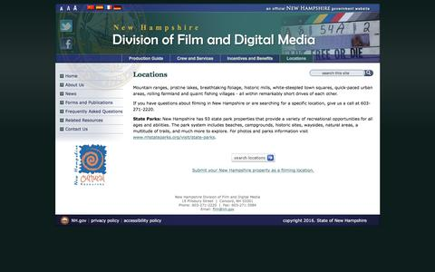 Screenshot of Locations Page nh.gov - Locations | New Hampshire Division of Film and Digital Media - captured Feb. 25, 2017