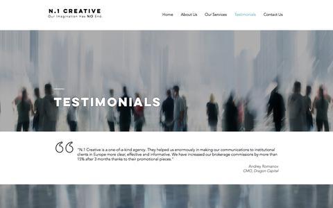 Screenshot of Testimonials Page n1creative.com - N.1 Creative   Copywriting & Marketing Experts   Testimonials - captured Sept. 21, 2018
