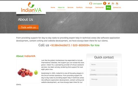 Screenshot of About Page indianva.com - About us | IndianVA|Virtual Assistant Services | VA Company  | IndianVA - Your Remote Staff - captured Sept. 30, 2014