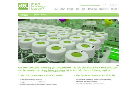 Screenshot of Services Page dermaltechnology.com - In vitro percutaneous absorption | Dermal Technology Laboratory | Services - captured Oct. 5, 2014