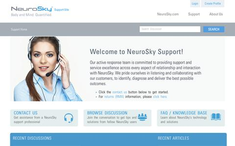 Screenshot of Support Page neurosky.com - Welcome - NeuroSky - Home Page Support - captured Sept. 12, 2014