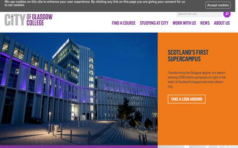 Screenshot of Home Page cityofglasgowcollege.ac.uk - City of Glasgow College | Full Time, Part Time, Evening and Weekend College Courses - captured Nov. 6, 2016