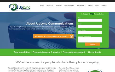 Screenshot of About Page uplync.com - Voip Business Phone Providers Lafayette, IN | UpLync - captured Oct. 20, 2018