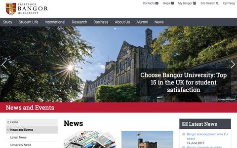 Screenshot of Press Page bangor.ac.uk - News and Events at Bangor University - - captured June 21, 2017