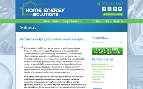 Screenshot of Testimonials Page hesnow.com - Testimonials • Home Energy Solutions - captured Oct. 2, 2014