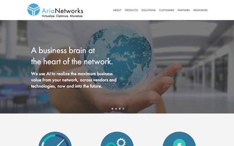Screenshot of Home Page aria-networks.com - Aria Networks: Optimizing the Digital Economy through AI - captured Sept. 22, 2016