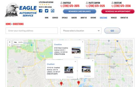 Screenshot of Maps & Directions Page eagle-auto.com - Directions - Eagle Automotive - captured Sept. 26, 2018