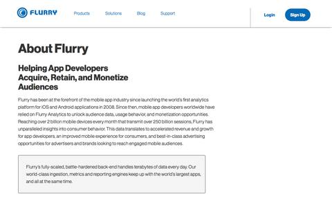 Screenshot of About Page flurry.com - About Flurry - Flurry - captured Nov. 29, 2019