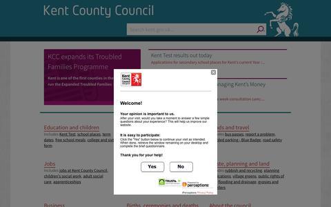 Screenshot of Home Page kent.gov.uk - Home - kent.gov.uk - captured Oct. 15, 2015