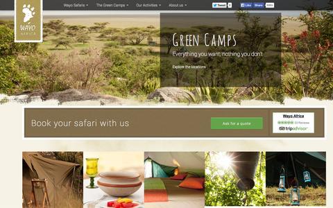 Screenshot of Home Page wayoafrica.com - Safari in Tanzania - Wayo Africa - captured Sept. 18, 2014