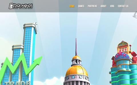Screenshot of Home Page idolminds.com - Idol Minds Game Development - captured Jan. 8, 2016