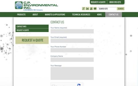 Screenshot of Contact Page cp-environmental.com - Contact Us - C.P. Environmental - captured Oct. 10, 2016